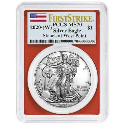 2020 (W) $1 American Silver Eagle PCGS MS70 First Strike Flag Label Red Frame
