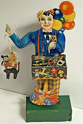 Rare Antique German Tin Litho Wind-Up Balloon Man With Mickey Mouse Kellerman