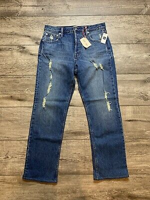 New With Tags Gap Denim Distressed Jeans Womens Straight Cut 29