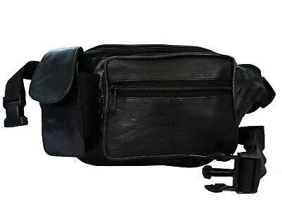 Leather Travel Bumbag with Phone Pouch, 7 Pockets Optional Waist Extension Piece