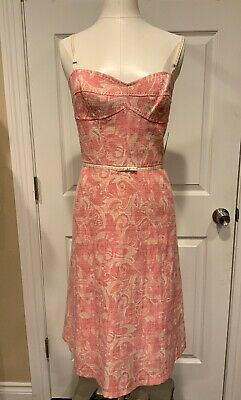 Elie Tahari Pink & Cream Jacquard Empire Waist Dress, Size 12