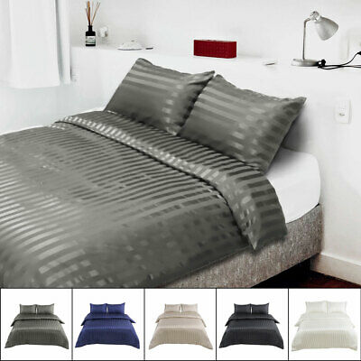 Silky Satin Stripe Bed Duvet Cover Pillowslips Three-piece Queen/King Size