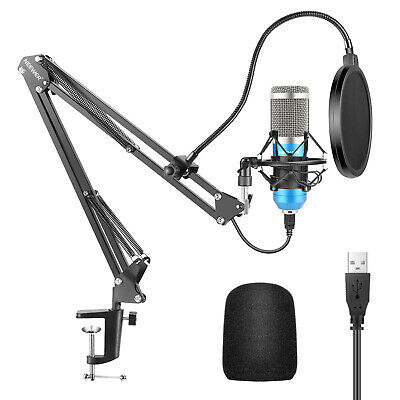 Neewer 192KHz/24Bit Cardioid USB Microphone and Arm Stand Kit (Blue)
