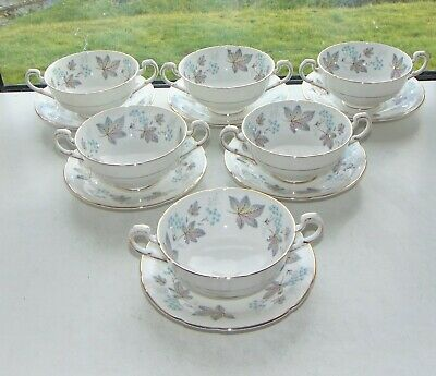 Paragon fine bone china Enchantment Pattern 6 x Soup Bowls Coupes and Stands