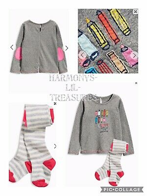 BNWT Girls NEXT PENCIL POT EMBROIDERED TOP & TIGHTS SET. AGE 2/3 YEARS