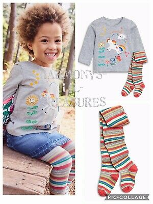 BNWT Girls NEXT UNICORN CHARACTER EMBROIDERED TOP & TIGHTS SET. AGE 2/3 YEARS