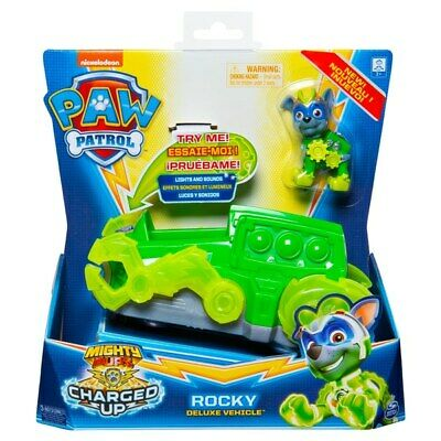 PAW Patrol Mighty Pups Charged Up Rocky Deluxe Vehicle Pre Order