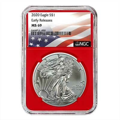 2020 $1 American Silver Eagle NGC MS69 Flag ER Label Red Core