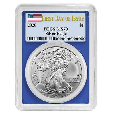 2020 $1 American Silver Eagle PCGS MS70 FDOI Flag Label Blue Frame