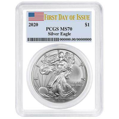 2020 $1 American Silver Eagle PCGS MS70 FDOI Flag Label White Frame