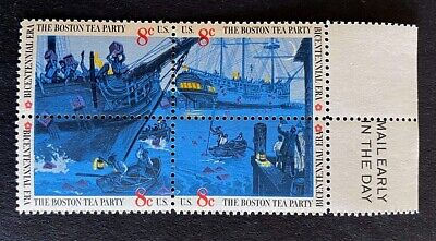 US Stamps, Scott #1480-83 8c 1973 Set of 4 & selvage Boston Tea Party XF M/NH