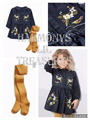 BNWT Girls NEXT EMBROIDERED DRESS & TIGHTS SET. AGE 2/3 YEARS