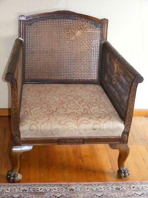 Antique Carved Mahogany framed 3 piece Bergere Suite