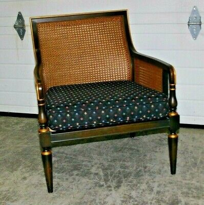 Baker Furniture English Regency Chinoiserie Chair with Caned Back & Sides