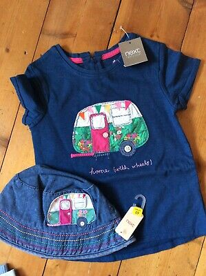 BNWT Girls NEXT HOME ON WHEELS EMBROIDERED TOP & MATCHING HAT. AGE 4/5 YEARS