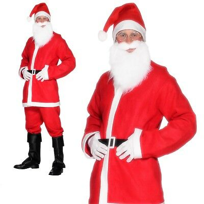 New 7pc SANTA CLAUS Suit Beard /& Wig Clause Holiday Christmas Costume