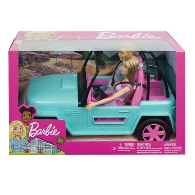 Barbie and Ken Dolls with Blue Jeep Vehicle NEW