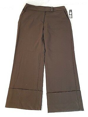 NWT Briggs New York Size 10 Capris Brown Stretch Pants Casual Wide Leg Cuffed