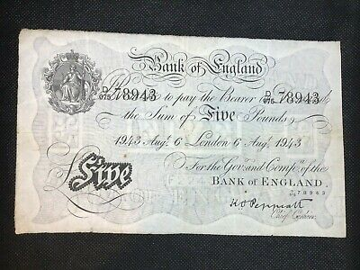 Great Britain 1943 5 Pound Banknote Pick 335a