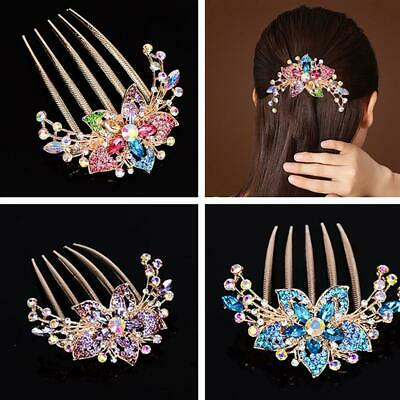 Elegant Womens Rhinestone Inlaid Flower Hair Comb Hairpin Headwear Accessory Hot