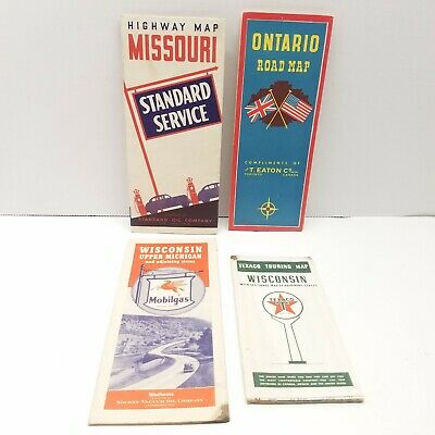 Lot 4 Vintage Road Maps WI, MO, MI, Ontario Mobilegas Texaco MWM Standard Oil Co