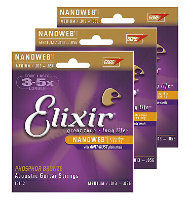 3 Sets Elixir 16102 Acoustic Guitar Strings Phosphor Bronze Nanoweb Medium 13-56