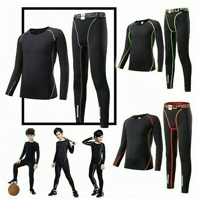 Boys Sportswear Base Layer Soccer Tracksuit Rugby Training Suit Top & Bottoms UK
