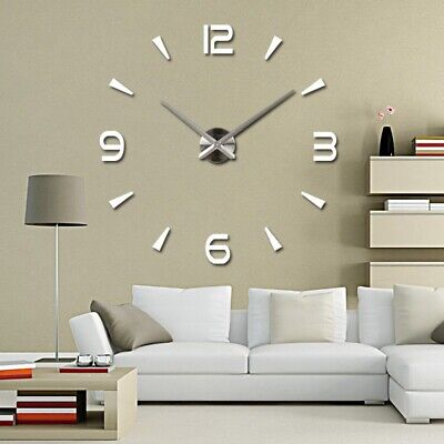 Acrylic Mirror 3D DIY Wall Clock Mute Movement Large Number Watch Home Decor UK