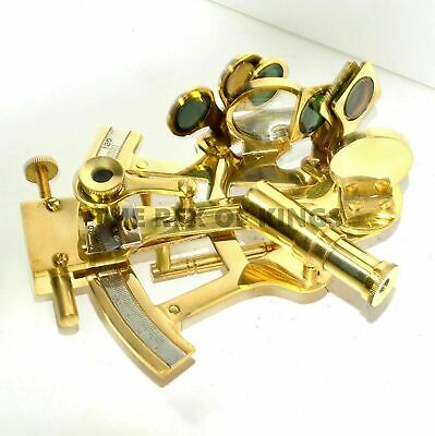 """5"""" Nautical Scout's Brass Sextant Astrolabe Marine Navigation Polished Sextant"""