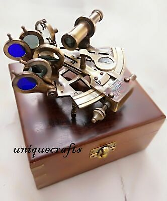 """Nautical Solid Brass Working Sextant 5"""" W/Wood Box Marine Astro Christmas Gift"""