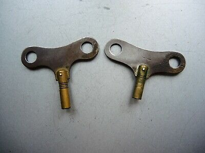 2x ANTIQUE ORIGINAL BRASS Wind up KEY FOR German CLOCK GUSTAV BECKER JUNGHANS GB