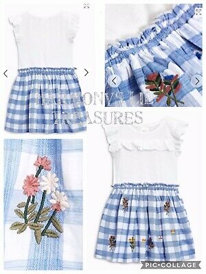 BNWT Girls NEXT BLUE/WHITE CHECK EMBROIDERED LINED DRESS. AGE 3/4 YEARS