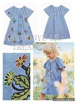 BNWT Girls NEXT CHECK SUMMER  DRESS WITH EMBROIDERED DETAIL. AGE 5/6 YEARS