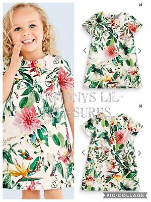 BNWT Girls NEXT TROPICAL LINED DRESS. AGE 4/5 YEARS