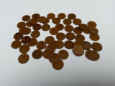 55 x Old British Half Penny Coins 1/2 penny 1970 & 1980s