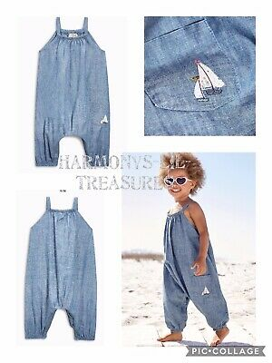 BNWT Girls NEXT CHAMBRAY YACHT APPLIQUED JUMPSUIT . AGE 4/5 YEARS