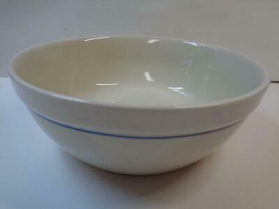 "1 Gibson Housewares China 6"" Soup Cereal Bowl off white Navy Blue Stripe"