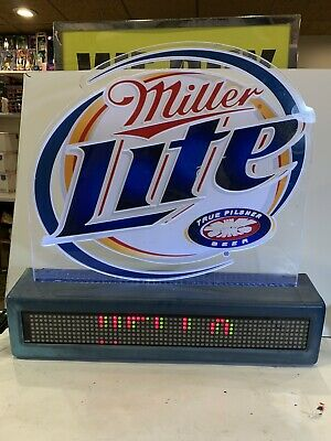 "20"" Rare Miller Lite Beer Scrolling Programmable Marquee Sign Window Bar Mancave"