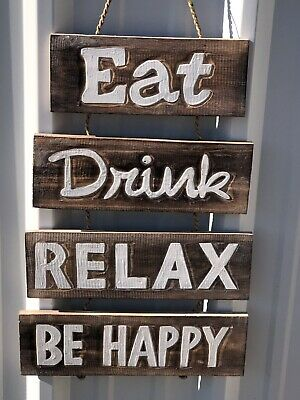 Eat Drink Relax Be Happy Hand Carved Wood Sign Wall Art Tropical Tiki