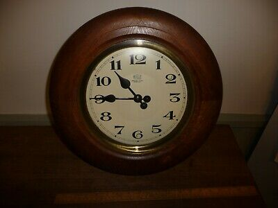 Antique Bulle Clock / Round Wood cased Bulle Wall Clock . Bulle Electro Magnetic