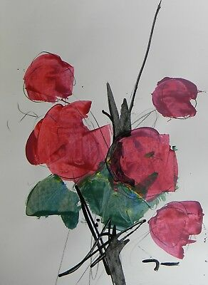 JOSE TRUJILLO - ACRYLIC PAINTING ABSTRACT RED ROSES FLORAL FLOWERS Original ARTS