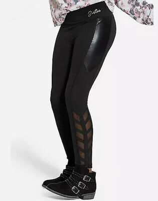 Justice Girls Size 14-16 Plus Shine & Mesh Leggings in Black New with Tags