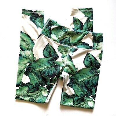 MISS BEHAVE GIRLS Fit Palm Leaves Workout Leggings Size 14