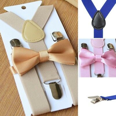 Cute Suspender and Bow Tie Set for Baby Toddler Kids Boys Girls Children UK