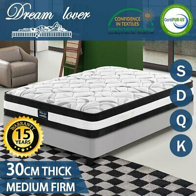 Queen King Single Double Bed Mattress Pocket Spring Firm Foam 30cm *Dream Lover