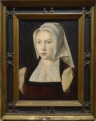 16th Century Flemish Antwerp Old Master Portrait Of A Lady Joos Van Cleve