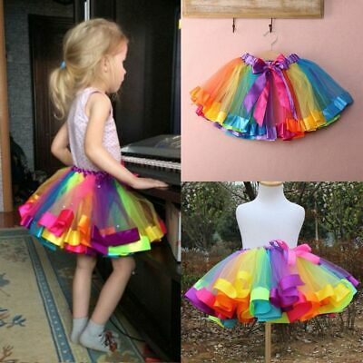 Kids Baby Handmade Colorful Tutu Skirt Girls Rainbow Tulle Tutu Mini Dress