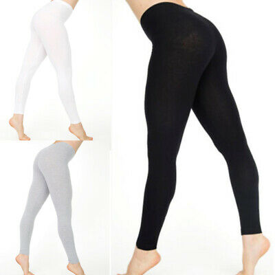 Women Cotton White Black Solid Color Skinny Stretchy Pants Casual Yoga Leggings