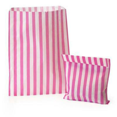 """100x Pink Candy Stripe Paper Bags Wedding Sweet Paper Bags - 10"""" x 14"""""""