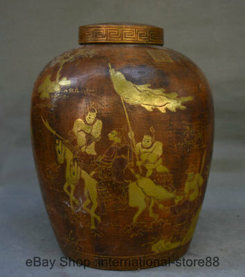 """11.6"""" Marked Old China lacquerware Gilt general soldier Ride Horse Tank Jar"""